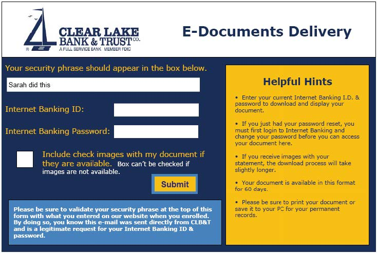 Access E-Statements and E-Documents
